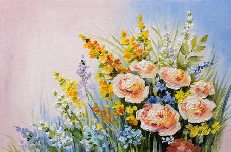 油絵 - 夏の花、カラフルな水彩の抽象の花束