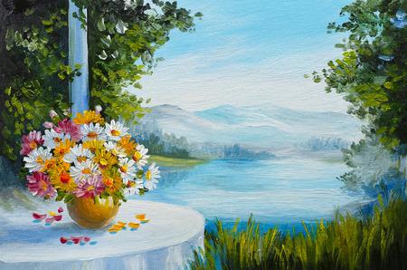 Peinture à l'huile - maison près de la mer, des fleurs colorées, paysage marin d'été Banque d'images - 64920769