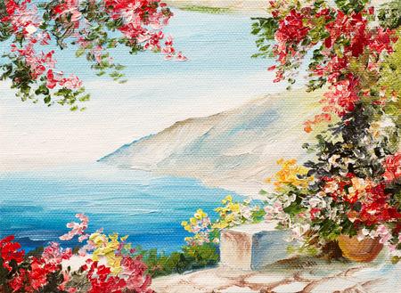 santorini: oil painting - house near the sea, colorful flowers, summer seascape