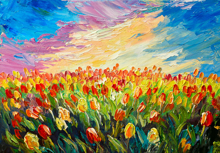 painting art: oil painting, tulips on a background of beautiful sunrise, impressionism art