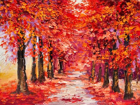 naranja arbol: pintura al óleo, árboles de otoño de colores, arte del impresionismo