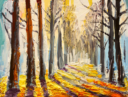 art painting: oil painting, autumn forest, impressionism art