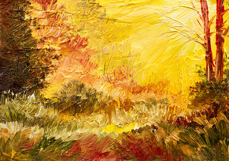 orange abstract: oil painting, colorful field, impressionism art