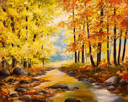 pintura al óleo, árboles de otoño de colores, arte del impresionismo