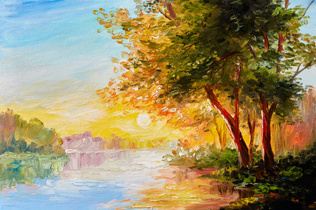 Oil painting landscape, river in the spring forest with sunset, afternoon Foto de archivo