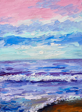 sunset beach: Oil painting of the sea, colorful sunset, watercolor art Stock Photo