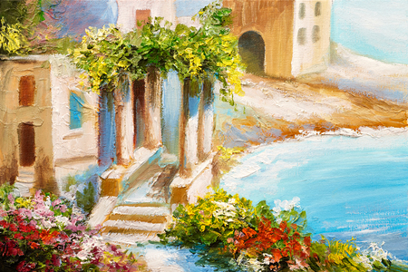 seascape: oil painting, house near the sea, sea coast, colorful flowers, summer seascape