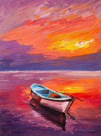 Pintura al óleo, barco en el mar, arte del impresionismo, colorido atardecer Foto de archivo