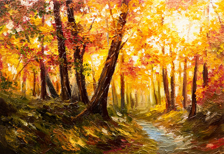 forest landscape: Oil painting landscape - autumn forest near the river, orange leaves