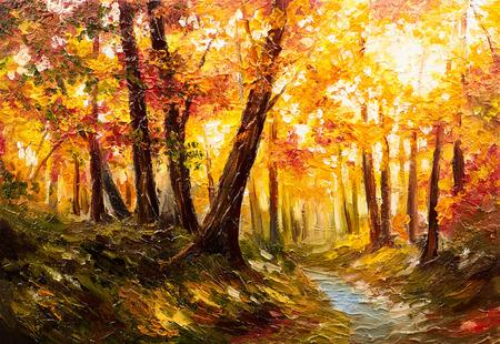 Paisaje de pintura al óleo - bosque de otoño cerca del río, hojas de naranja