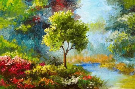 油彩画、花、川、日没近くの木