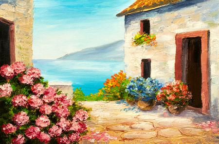 Pittura a olio, casa vicino al mare, costa del mare, fiori colorati, paesaggio marino estate Archivio Fotografico - 69142174