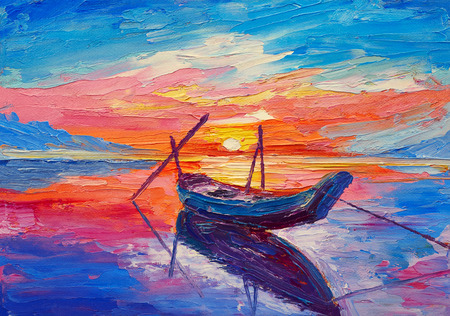 Pittura ad olio, opere d'arte su tela. Barche da pesca in mare Archivio Fotografico - 69159346