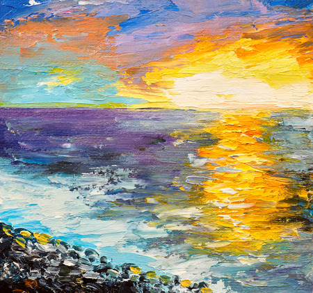 Oil painting of the sea, sunset on the coast, watercolor Archivio Fotografico