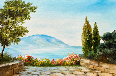 oil painting, mountains on the sea coast, abstract drawing