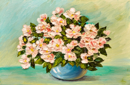 Oil painting of spring flowers in a vase on canvas, art work