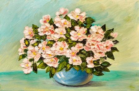 Pittura ad olio di fiori in un vaso su tela, opera d'arte Archivio Fotografico - 69159343