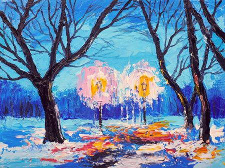 Pittura ad olio astratta. Acquerello di pennellate di arte. Opere moderne e contemporanee. foresta invernale in serata Archivio Fotografico - 70073072