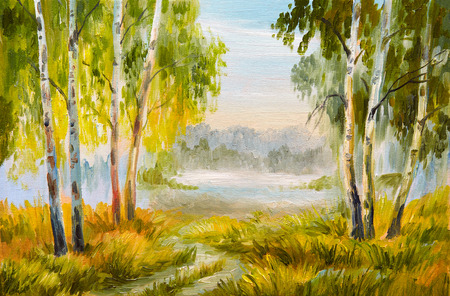 Oil Painting landscape, summer forest with a road Stock Photo