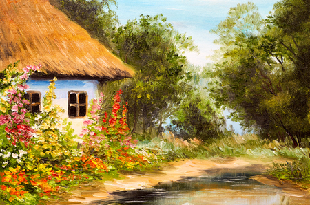 油絵、森の中の農家