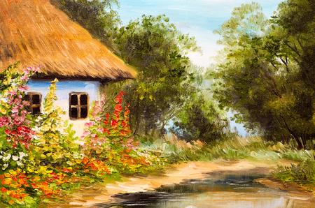 Pintura al óleo, casa de campo en el bosque Foto de archivo