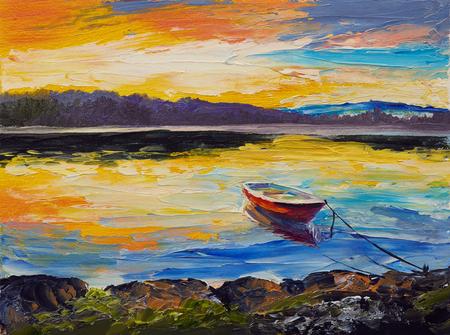 Pittura ad olio, opere d'arte su tela. Barche da pesca in mare Archivio Fotografico - 74425398