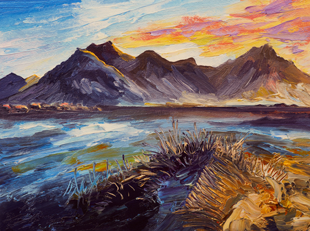 Oil painting, pink sunset, sea, mountains Archivio Fotografico