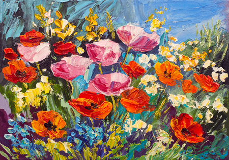 Oil painting of spring flowers on canvas, art work