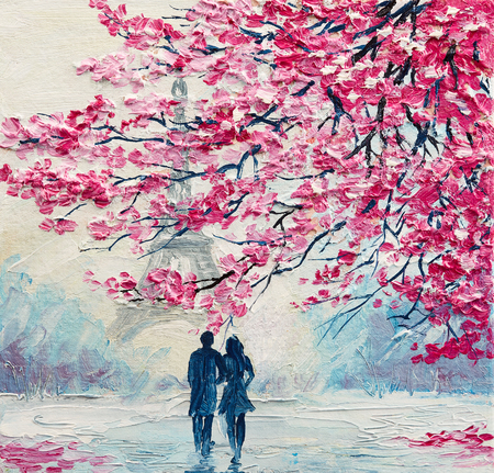 oil painting on canvas, couple of lovers under an umbrella, Paris, Eiffel Tower, modern art