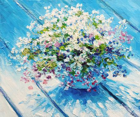 Dipinto ad olio su tela, fiori di natura morta, opere d'arte impressionista Archivio Fotografico - 94401616