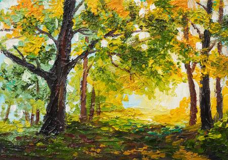 Paesaggio della pittura a olio - foresta variopinta di autunno Archivio Fotografico - 95117874