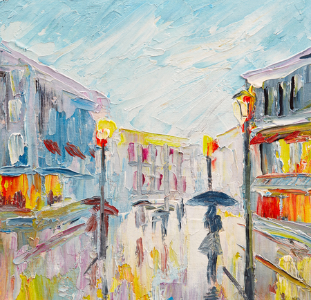 oil painting on canvas, couple of lovers under an umbrella, walking on the street