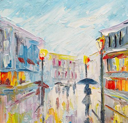 pintura al óleo sobre lienzo, pareja de enamorados bajo una sombrilla, caminando por la calle
