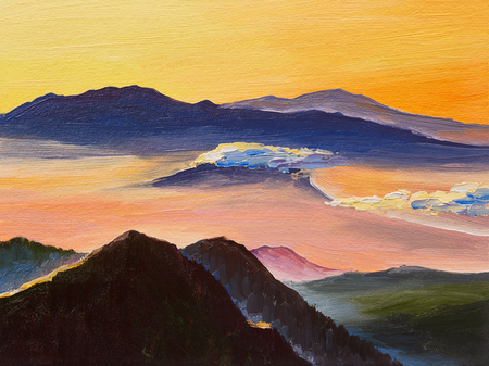 Oil painting, sunset in the mountains, artwork on canvas