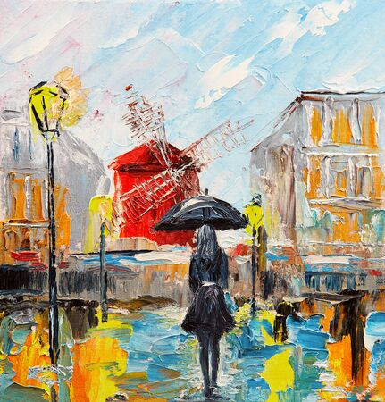 oil painting, woman with an umbrella near the Moulin Rouge, a walk in Paris, artwork on canvas Archivio Fotografico