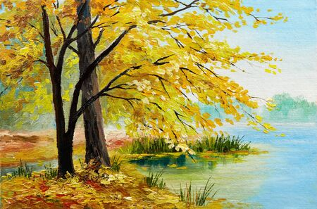 Oil painting - colorful autumn forest , art work