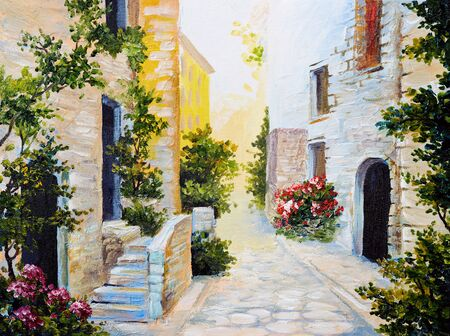 oil painting - Italian street, colorful watercolour