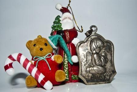 christmas cheer stock photo santa bear and angel Stok Fotoğraf