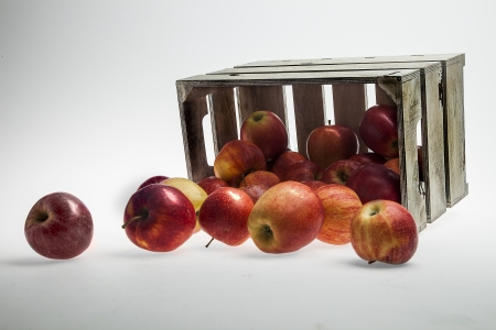 Apples Wooden Crate isolated on white   photo