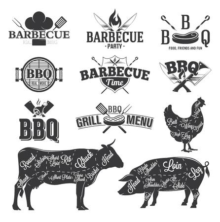 BBQ Emblemen en Logos Stock Illustratie