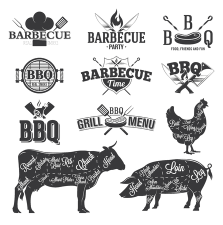 grilled chicken: BBQ Emblems and Logos