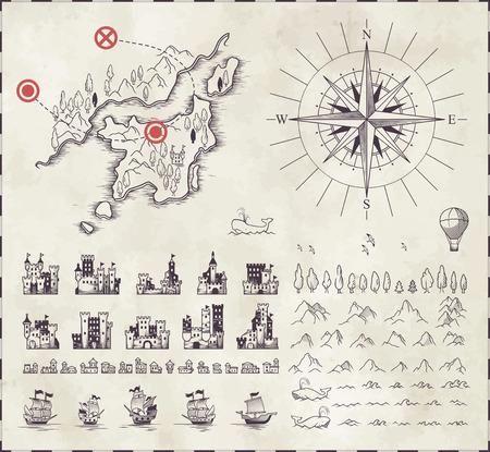 carte trésor: Situé dans la cartographie médiévale
