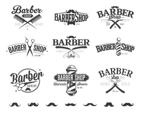 Tipográficas Peluquería de caballeros Emblemas Foto de archivo - 47273672
