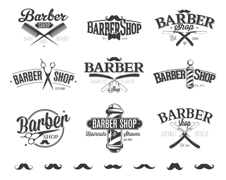 barber scissors: Typographic Barber Shop Emblems