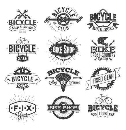 Projektowanie etykiet typograficzne rowerów Ilustracje wektorowe