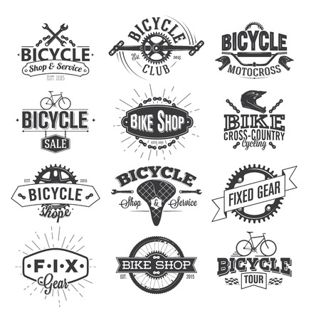 bicyclette: Vélos typographique de conception d'étiquettes Illustration