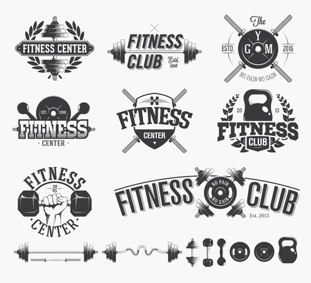 sport training: Typographic Fitness Emblems