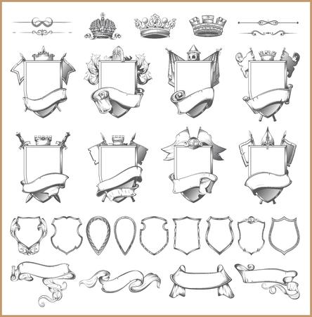 medieval: colección de elementos heráldicos del escudo de armas de plantilla Vectores