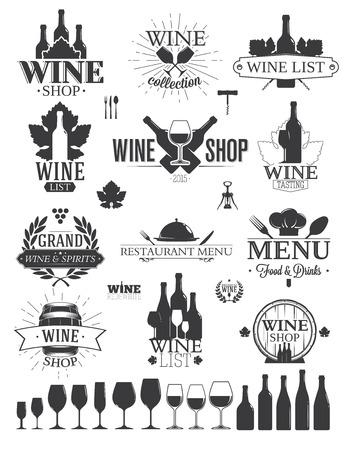 copa de vino: Las etiquetas de vino y Logos Vectores
