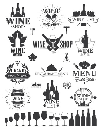 wine dinner: Wine Labels and Logos Illustration